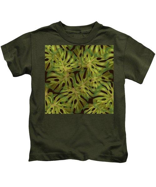 Monstera Leaf Pattern 3 - Tropical Leaf Pattern - Dark Green - Tropical, Botanical Pattern Design Kids T-Shirt