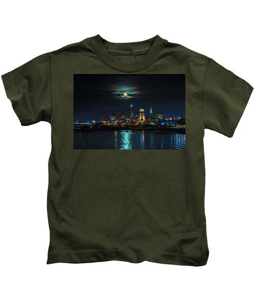 Moon Over Cleveland  Kids T-Shirt