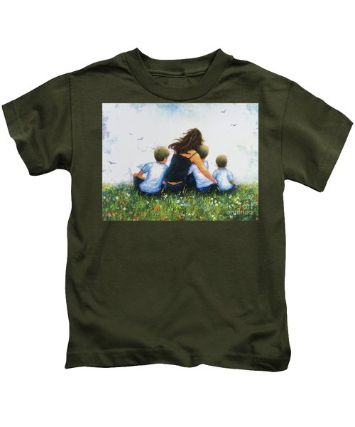 Mother And Three Sons Hugging Blonde Boys Kids T-Shirt