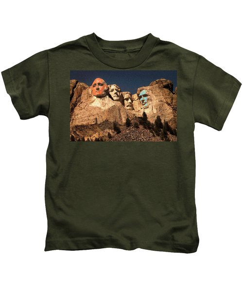 Mount Rushmore Red And Blue Drawing Kids T-Shirt