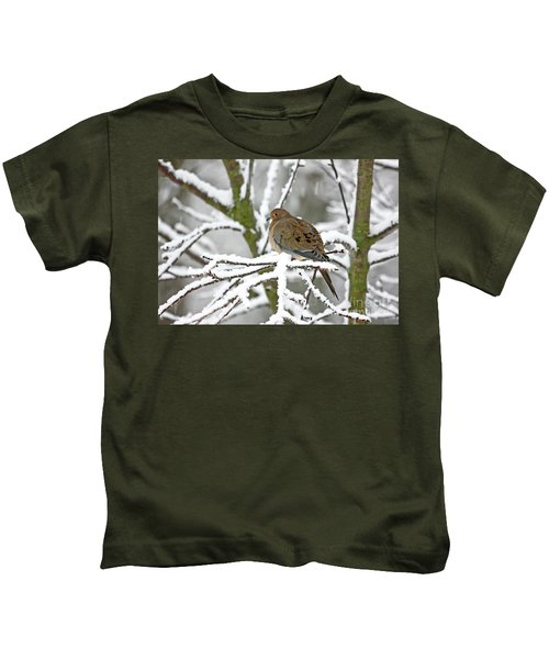 Mourning Dove In Snowstorm Kids T-Shirt