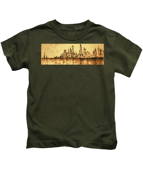 New York City Skyline 79 - Water Color Drawing Kids T-Shirt