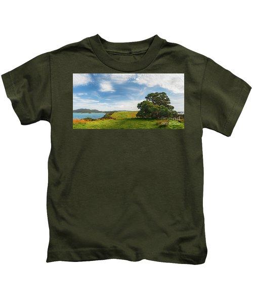 New Zealand Landscape And Pohutukawa Tree Kids T-Shirt