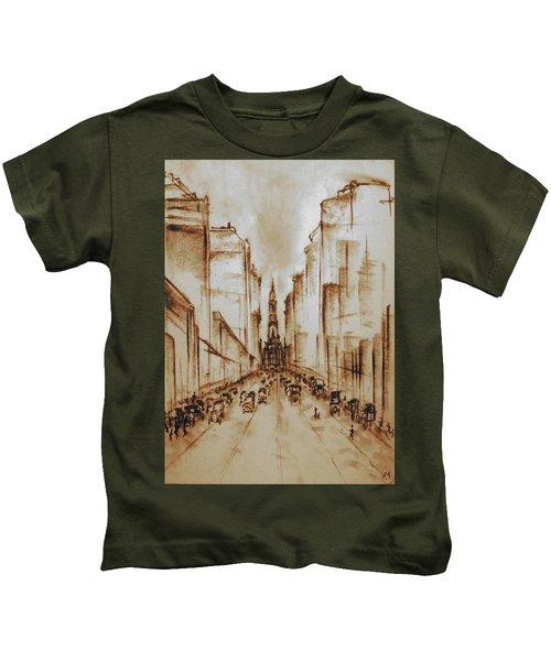 Old Philadelphia City Hall 1920 - Pencil Drawing Kids T-Shirt