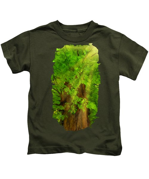 Old Tree Thick Branches Green And Sun Kids T-Shirt