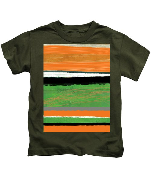 Orange And Green Abstract II Kids T-Shirt