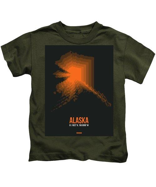 Orange Map Of Alaska Kids T-Shirt