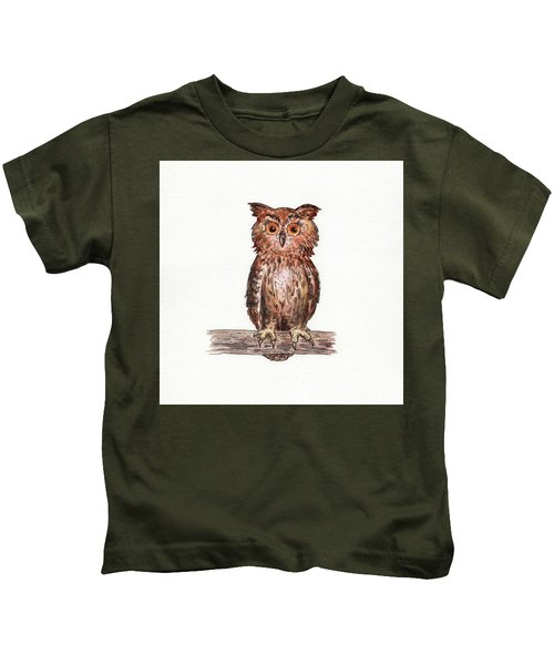 Owl Squared Watercolor Kids T-Shirt