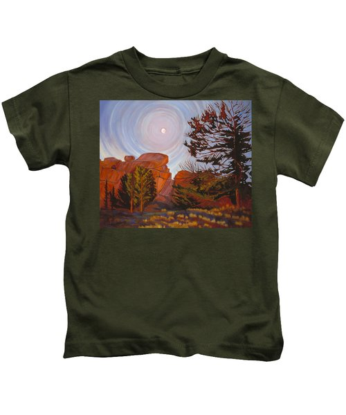 Pale Moon Over Vedauwoo Kids T-Shirt