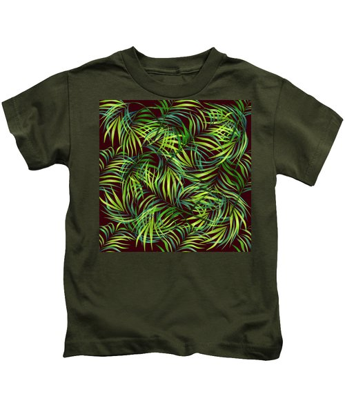 Palm Leaf Pattern 2 - Tropical Leaf Pattern - Green, Black - Tropical, Botanical Pattern Design Kids T-Shirt