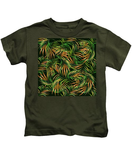 Palm Leaf Pattern 3 - Tropical Leaf Pattern - Green, Orange - Tropical, Botanical Pattern Design Kids T-Shirt