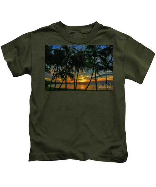 Palm Tree Lagoon Sunrise Kids T-Shirt