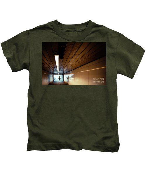 Passengers In A Hurry At The End Of A Tunnel At The Entrance To The Metro Station. Kids T-Shirt