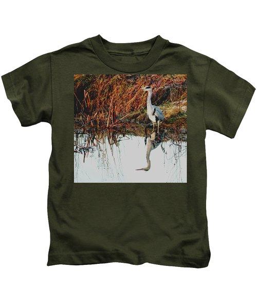 Pensive Heron Kids T-Shirt
