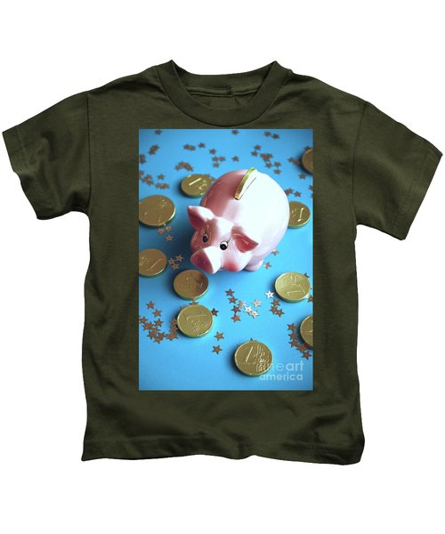 Piggy Bank On The Background With The  Chocoladen Coins Kids T-Shirt