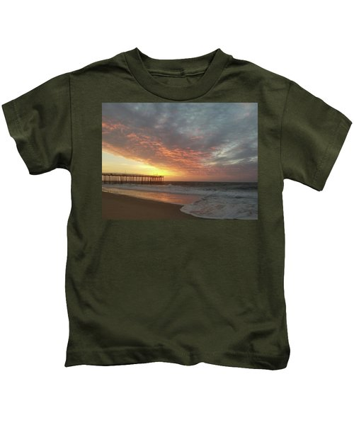 Pink Rippling Clouds At Sunrise Kids T-Shirt