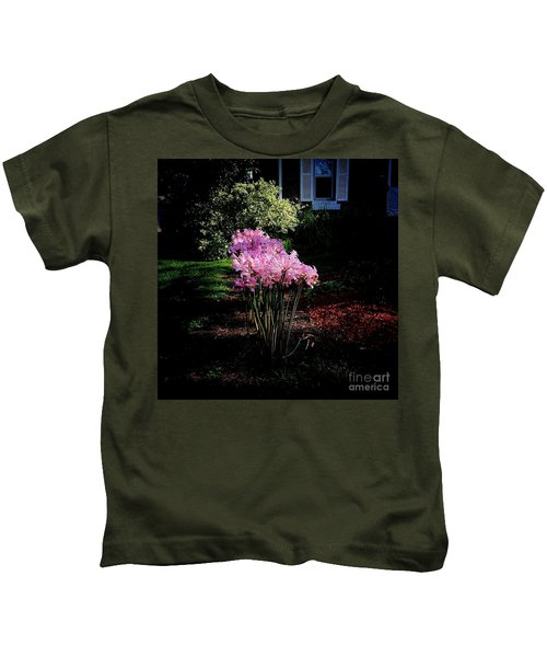 Pink Sunlit Flowers In The Neighborhood Kids T-Shirt