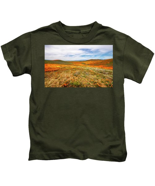 Poppies As Far As The Eye Can See Kids T-Shirt