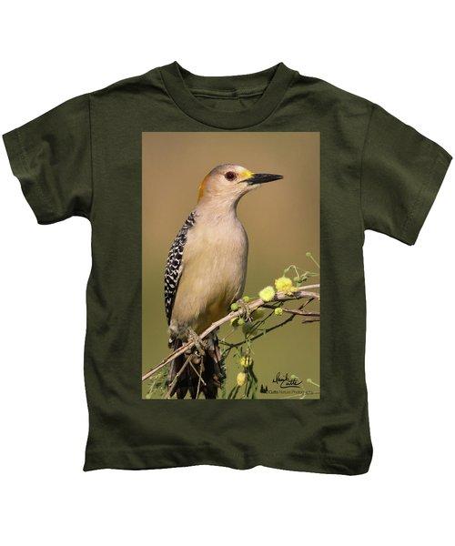 Portrait Of A Golden-fronted Woodpecker Kids T-Shirt