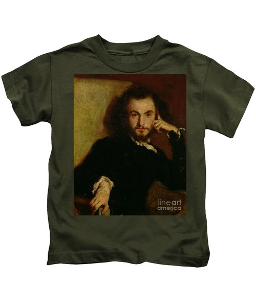Portrait Of Charles Baudelaire By Deroy Kids T-Shirt