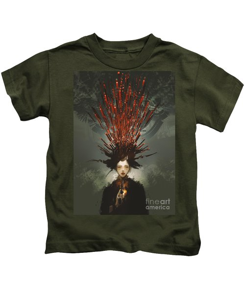 Kids T-Shirt featuring the painting Prey With A Gun by Tithi Luadthong