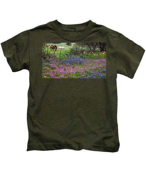 Bluebonnets And Pure Texas  Kids T-Shirt
