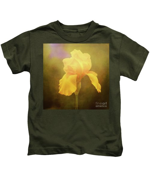 Radiant Yellow Iris With A Vintage Touch Kids T-Shirt