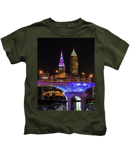 Rainbow Tower In Cleveland Kids T-Shirt