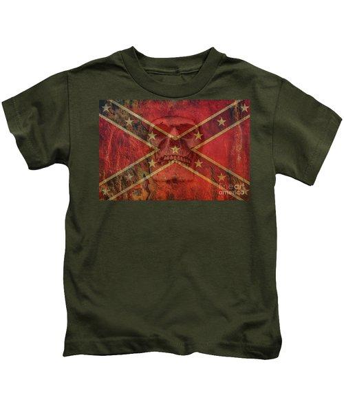 Rebel Flag With Skull Kids T-Shirt