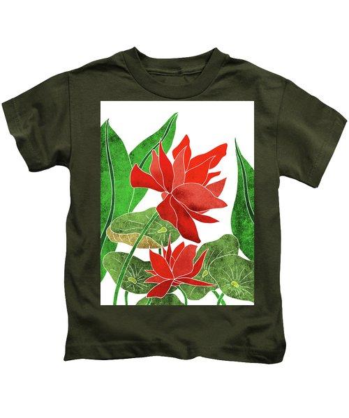 Red Lotus Flower - Botanical, Floral, Tropical Art - Modern, Minimal Decor - Red, Green Kids T-Shirt