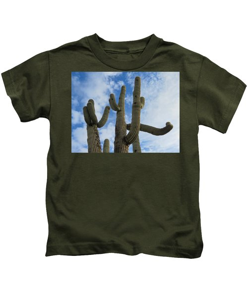 Kids T-Shirt featuring the photograph Saguaro Clique by Judy Kennedy