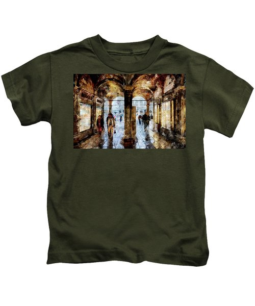 Shopping Area Of Saint Mark Square In Venice, Italy - Watercolor Effect Kids T-Shirt