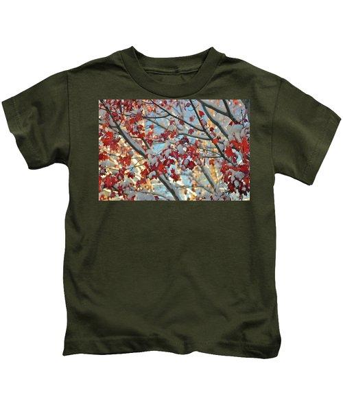 Snow On Maple Leaves Kids T-Shirt