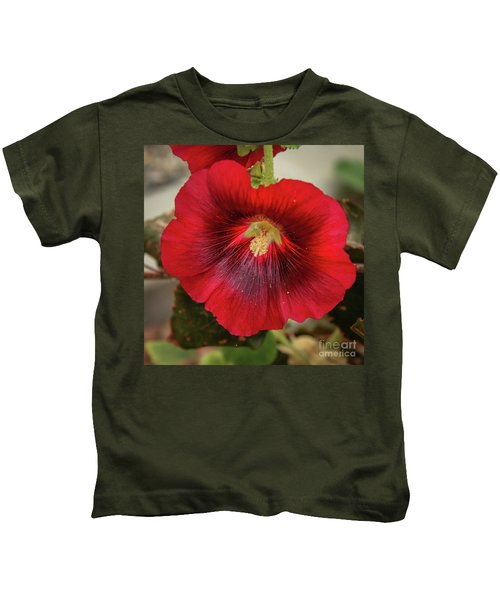 Square Red Hollyhock Kids T-Shirt