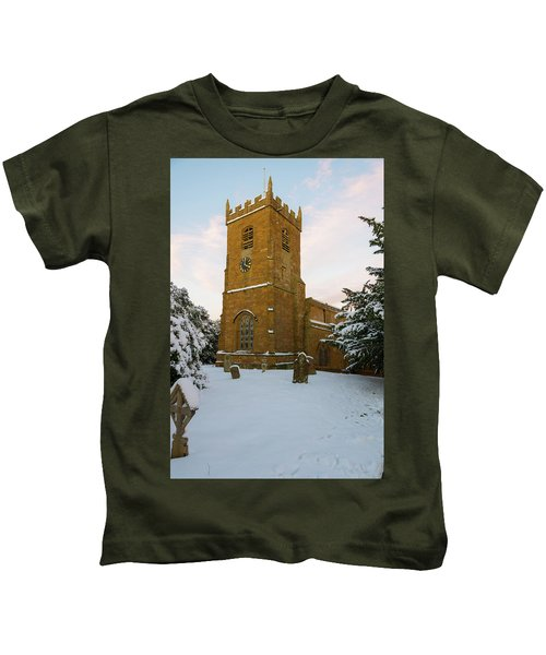 Stone Church In The Snow At Sunset Kids T-Shirt