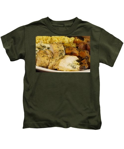 Stuffed Chicken, Roasted Potatoes And Rice Closeup Kids T-Shirt