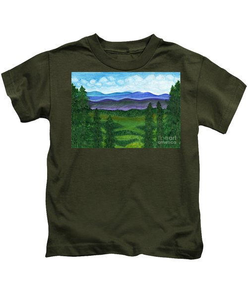 View From A Mountain Slope To Distant Mountains And Forests Kids T-Shirt