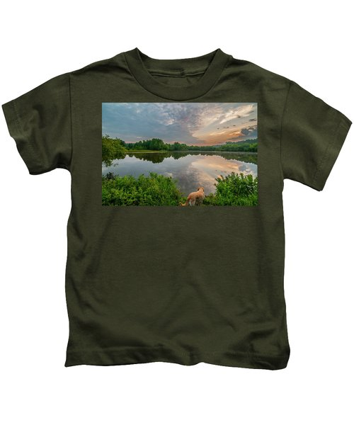 Sunrise At Ross Pond Kids T-Shirt