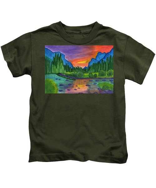Mountain River In The Background Of The Forest And The Blue Mountains At Sunset Kids T-Shirt