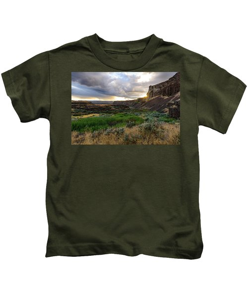 Sunset In The Ancient Lakes Kids T-Shirt