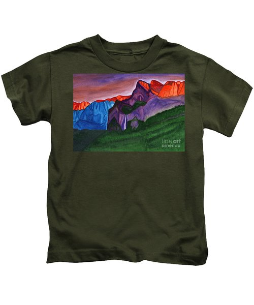 Snowy Peaks Of The Mountains With A Waterfall Lit Up By The Orange Dawn Kids T-Shirt