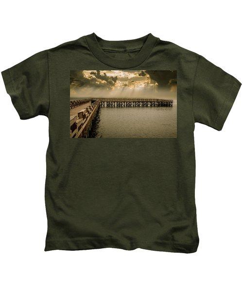 Sunset On Pier Kids T-Shirt