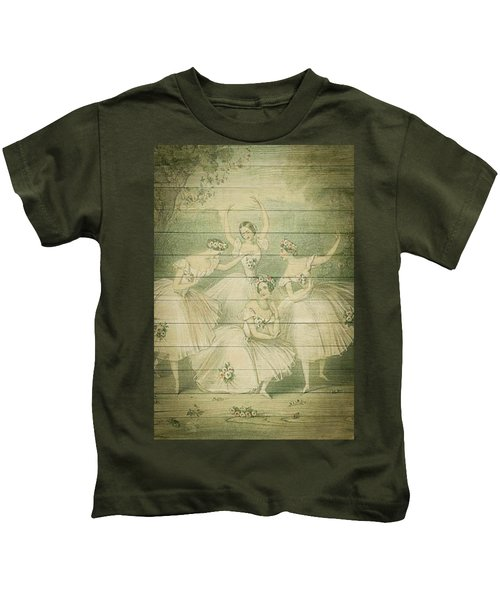 The Ballet Dancers Shabby Chic Vintage Style Portrait Kids T-Shirt