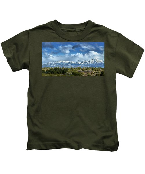 The City Of Bariloche And Landscape Of Snowy Mountains In The Argentine Patagonia Kids T-Shirt