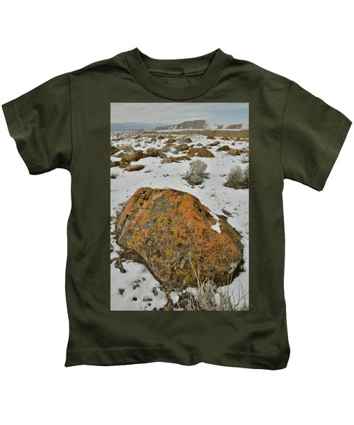 The Lichen Covered Boulders Of The Book Cliffs Kids T-Shirt