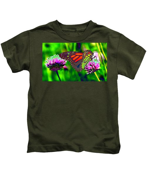 The Red Monarch Butterfly Kids T-Shirt