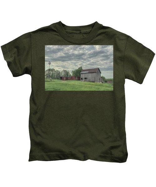Train Cars And A Barn Kids T-Shirt