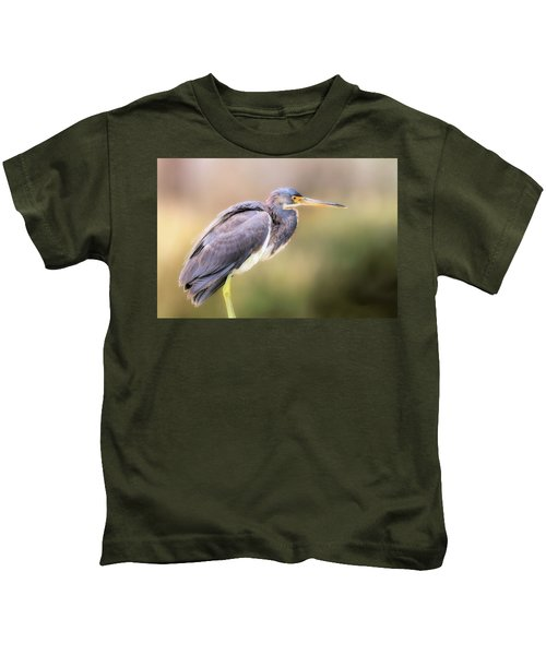 Tricolored Heron Of Brazos Bend State Park Kids T-Shirt