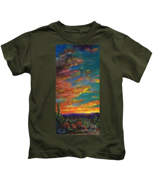 Triptych 1 Desert Sunset Kids T-Shirt