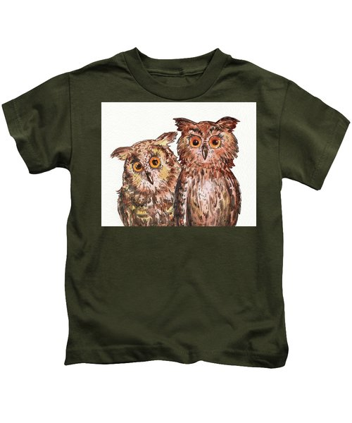 Two Brothers Baby Owls Watercolor Kids T-Shirt